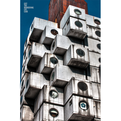 Metabolist cube architecture of Nakagin Capsule Tower in Tokyo, Japan