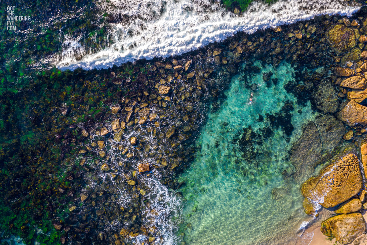 Aerial photograph of a man swimming in The Bogey Hole, Bronte Beach
