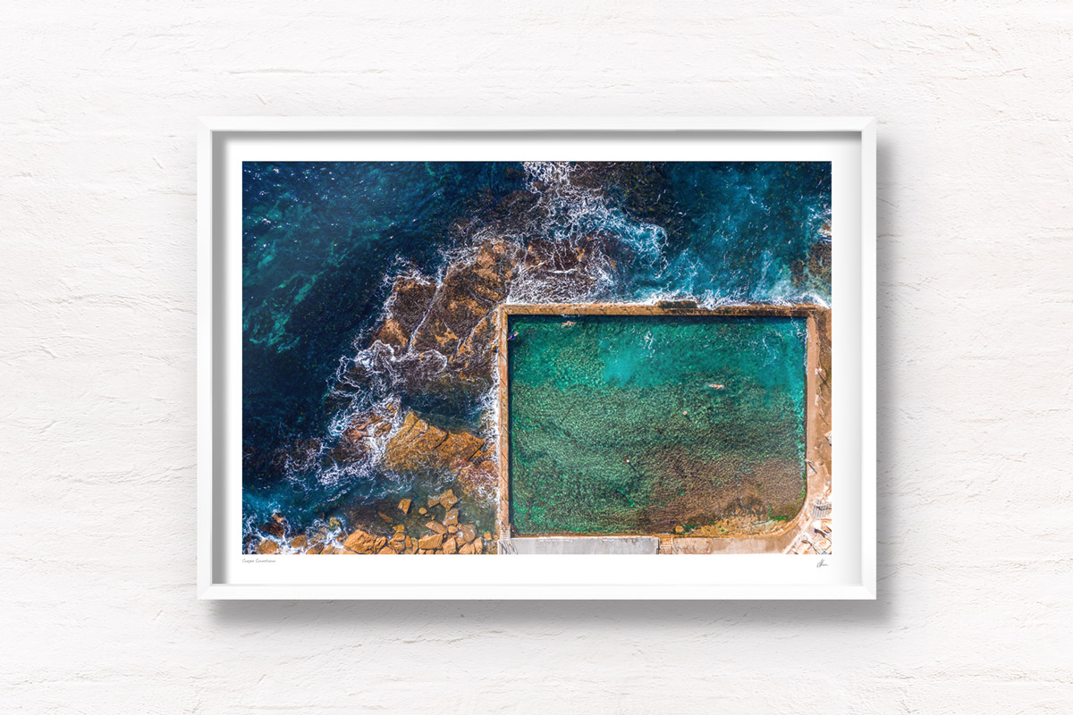 Aerial oceanscape of Sydney's oldest and most beautiful tidal pool, Wylies Baths, Coogee