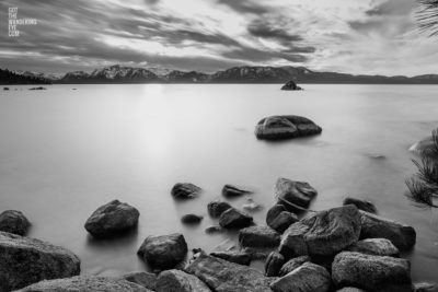 Silky black & white, long exposure photograph at Lake Tahoe