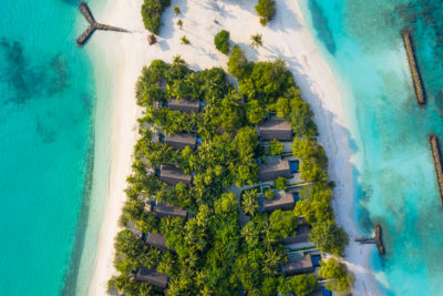 Fine Art Photography Print. Aerial oceanscape of remote Maldivian Island.