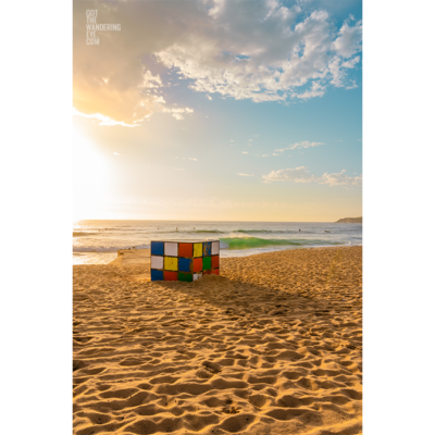 Fine Art Photography Print. Golden sunrise at the Rubik's Cube, Marouba Beach