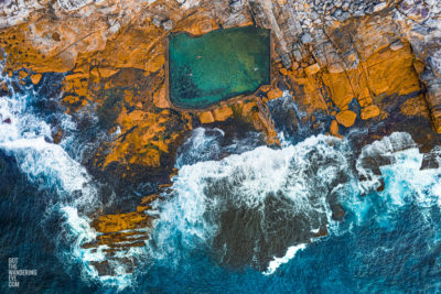 Aerial oceanscape looking down on Mahon Pool, Maroubra
