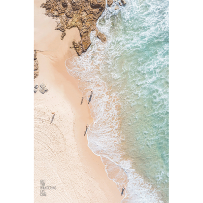 Fine Art Photography Print. Aerial oceanscape of sunlovers at MaroubraBeach
