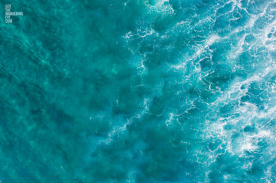 A close up aerial oceanscape photograph of Bondi Beach Waves. Sydney Australia