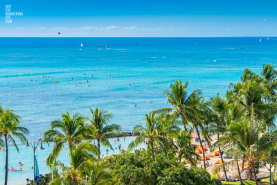 Fine Art Photography Print. Aerial, oceanscape of palm trees on world famous Waikiki Beach, Oahu, Hawaii