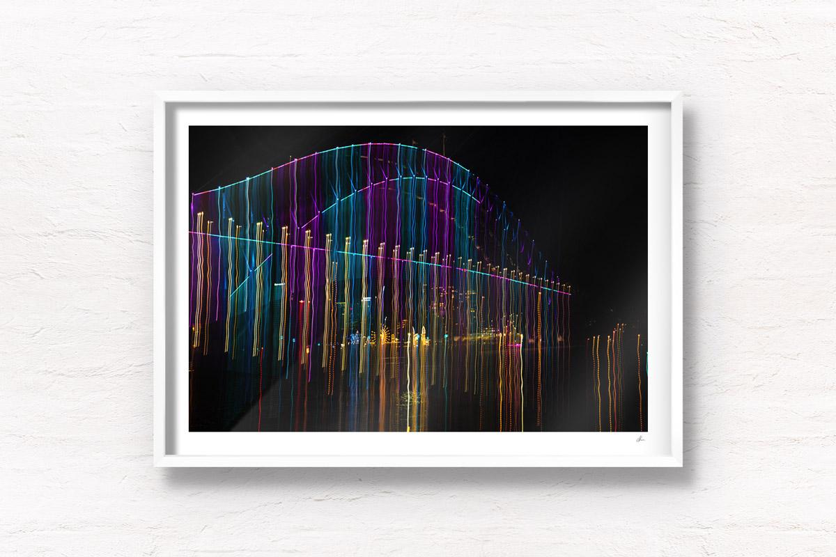 Long exposure, light painting photography of Vivid Festival. Light trails of Sydney Harbour Bridge, Australia