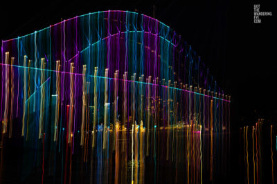 Long exposure, light painting photography of Vivid Festival. Light trails of Sydney Harbour Bridge, Australia