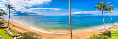 Waterfront panoramic view of Lanai and Moloka'i Islands from Maui Island