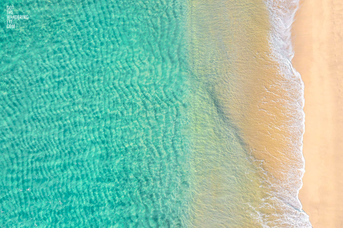Aerial oceanscape above the turquoise waters of Bronte Beach
