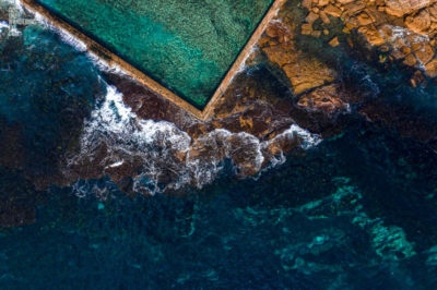 Aerial oceanscape of Sydney's oldestand most beautiful tidal pool, Wylies Baths, Coogee