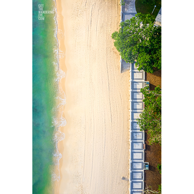 Aerial oceanscape above the foreshore of the historic Balmoral Beach promenade