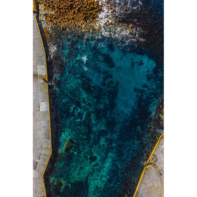 aerial oceanscape overlooking the pristine waters of Clovelly Beach