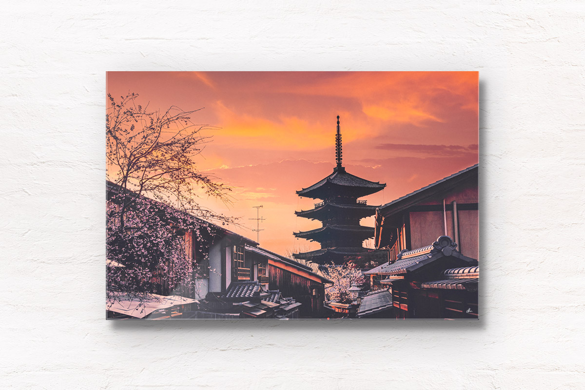 Beautiful sunset over the historic Yasaka Pagoda, Yasaka Street in Kyoto