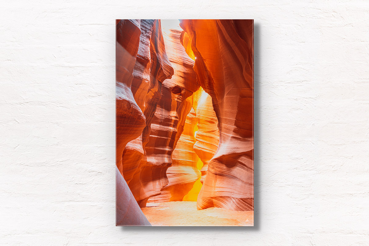 Looking through the swirling sandstone textures of the slot canyon at upper Antelope Canyon, Arizona.
