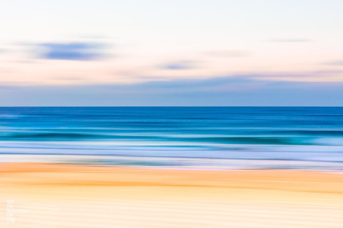 Long exposure, slow shutter photograph of Bondi Beach