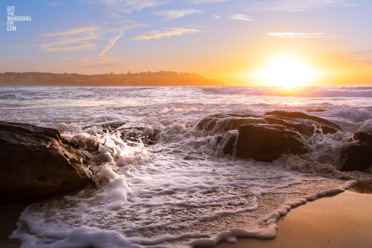 Sunrise over the sands of Bondi Beach