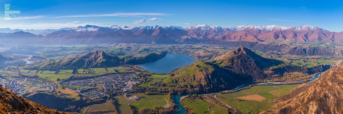 Panoramic view from the Remarkables mountain ranges looking down on Queenstown.