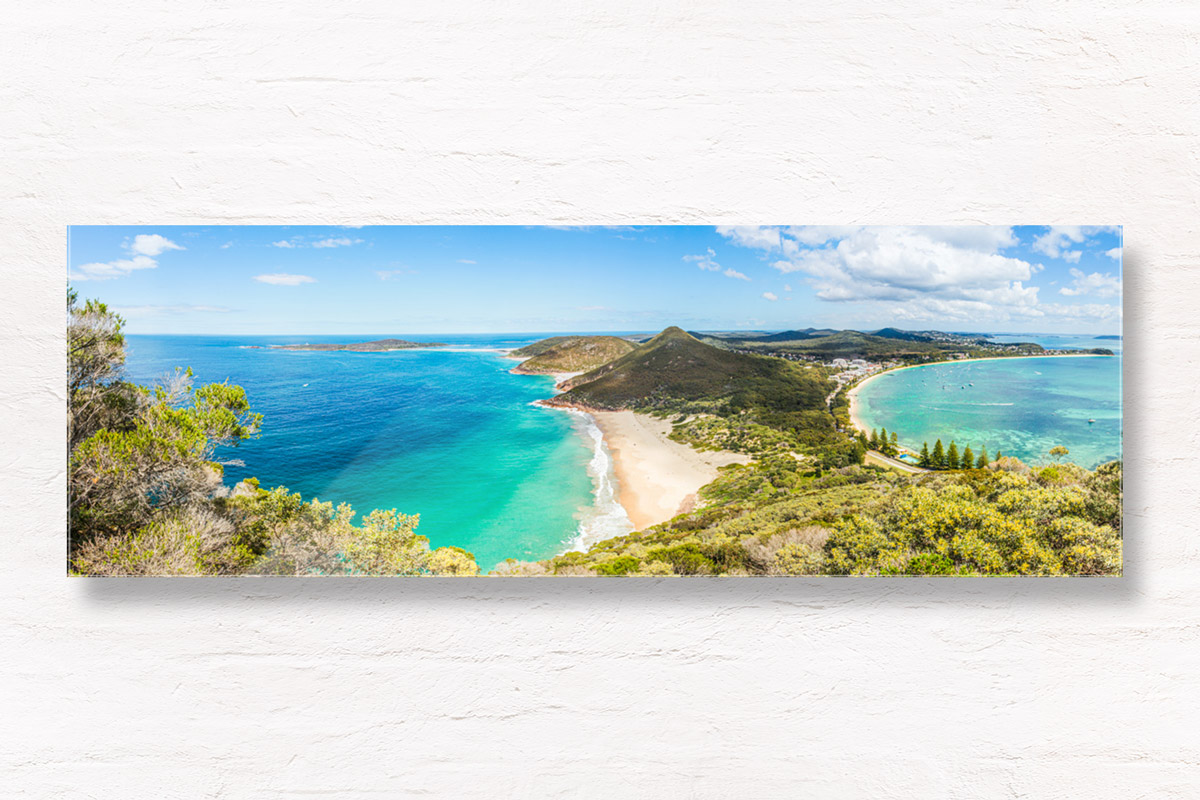 Panoramic view of Zenith Beach from Tomaree Head Summit Lookout in Shoal Bay, Port Stephens