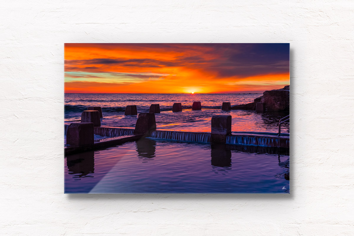 Fine Art Photography. Fiery purple sky sunrise above Ross Jones Memorial Pool in Coogee