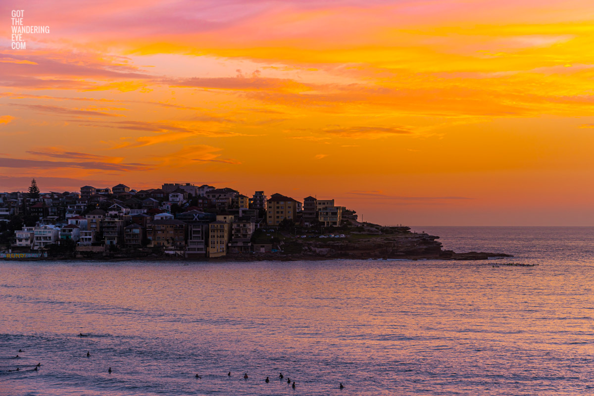 Gorgeous fiery sunrise over Ben Buckler, Bondi Beach