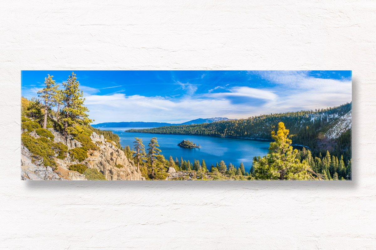 Panoramic view of mountains and Emerald Bay's stunning blue waters in Lake Tahoe, California