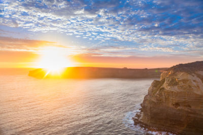 Fine Art Photography Print. Stunning sun setting into the ocean, Great Ocean Road, Victoria