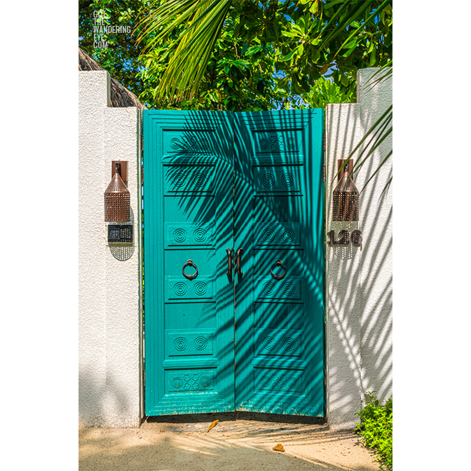 Tropical vibes with a palm tree shadow on gorgeous Maldivian Beach Villa Door