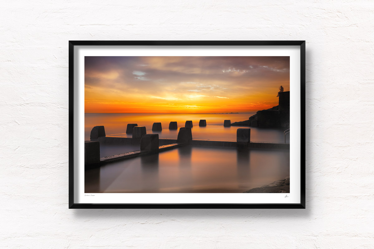 Fine Art Photography. Warm, sunny sunrise above Ross Jones Memorial Pool in Coogee