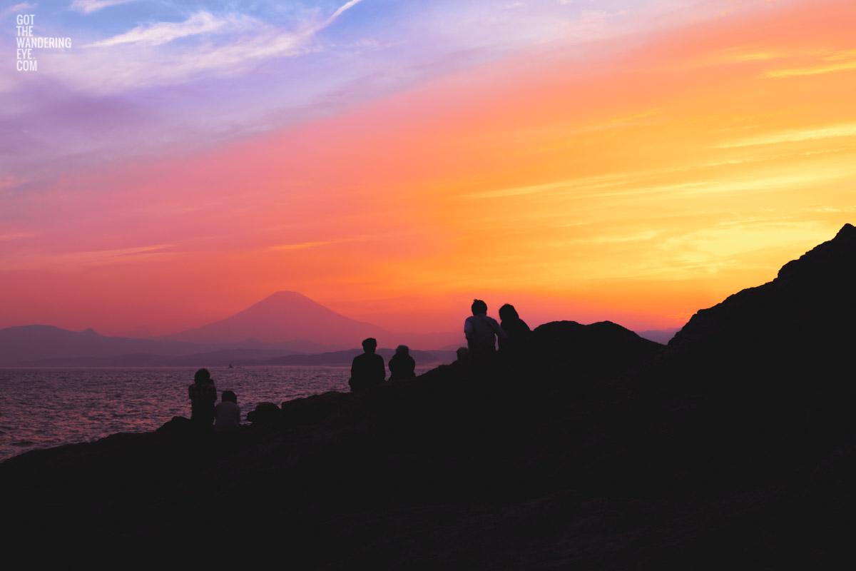 Gorgeous sunset at Enoshima looking towards Mount Fuji, Japan