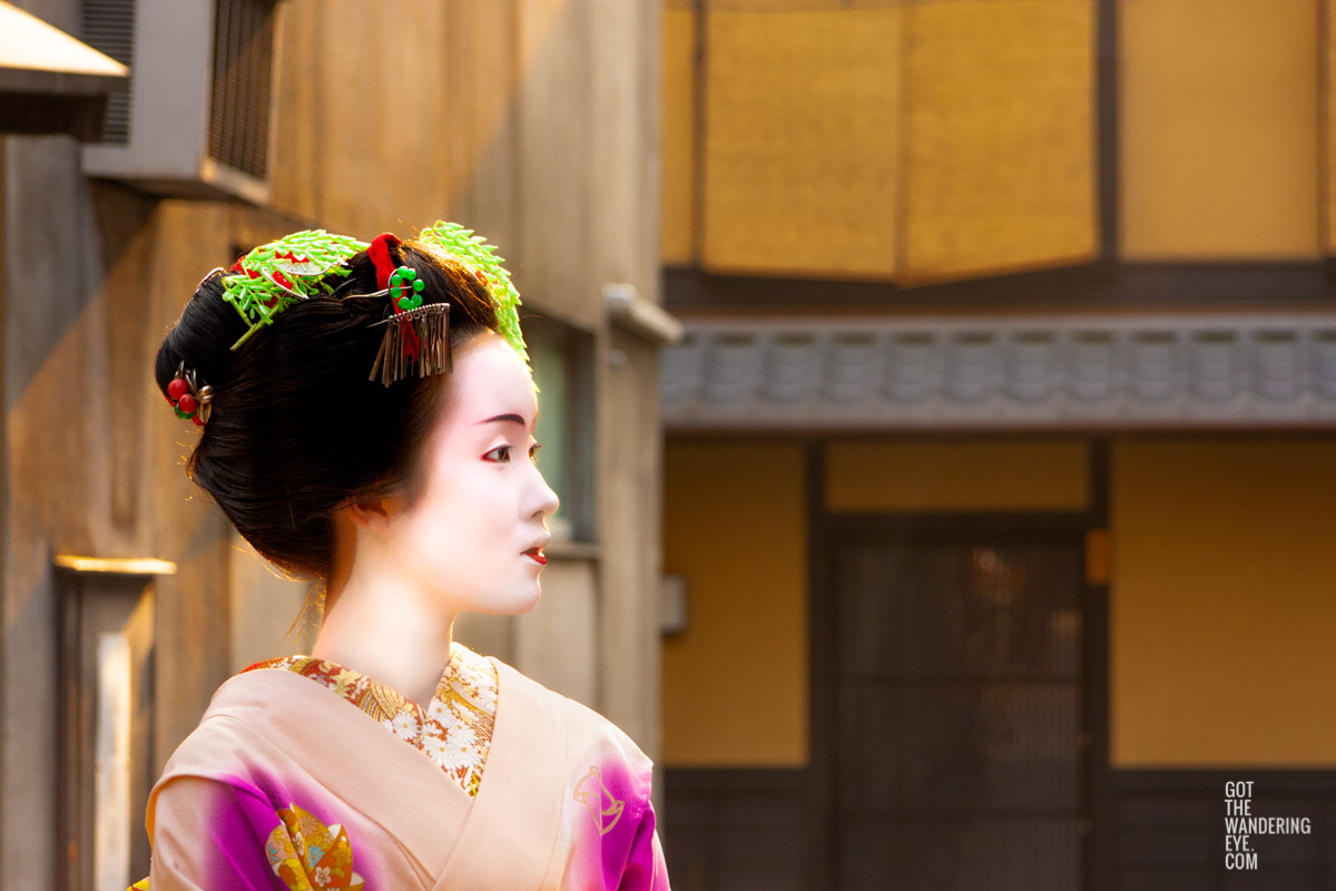 Portrait photo of a Maiko (apprentice Geisha) walking the streets of Gion, Kyoto Japan