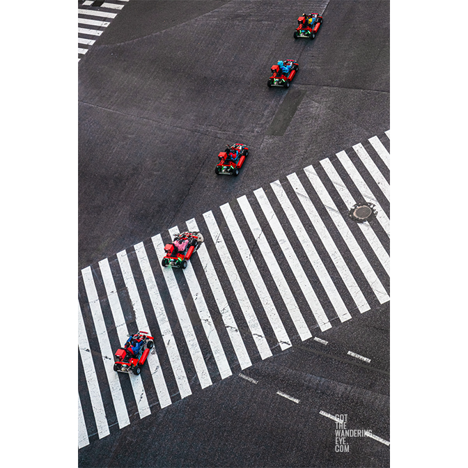 Aerial view above Shibuya Scramble of Tokyo Street Go Karting