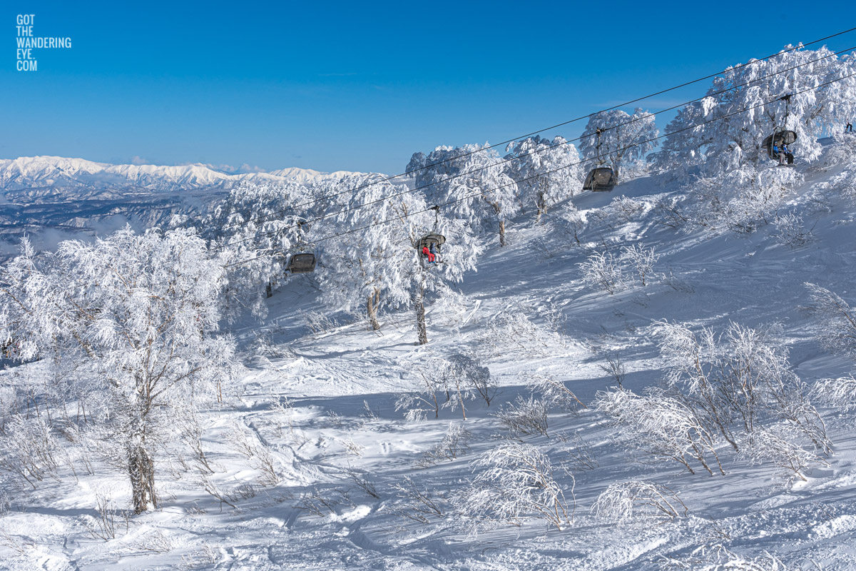 Chairlift through snow covered trees on Nozawa Onsen, Japan during winter