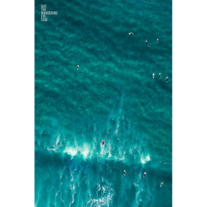 Aerial seascape above surfers on Bondi Beach