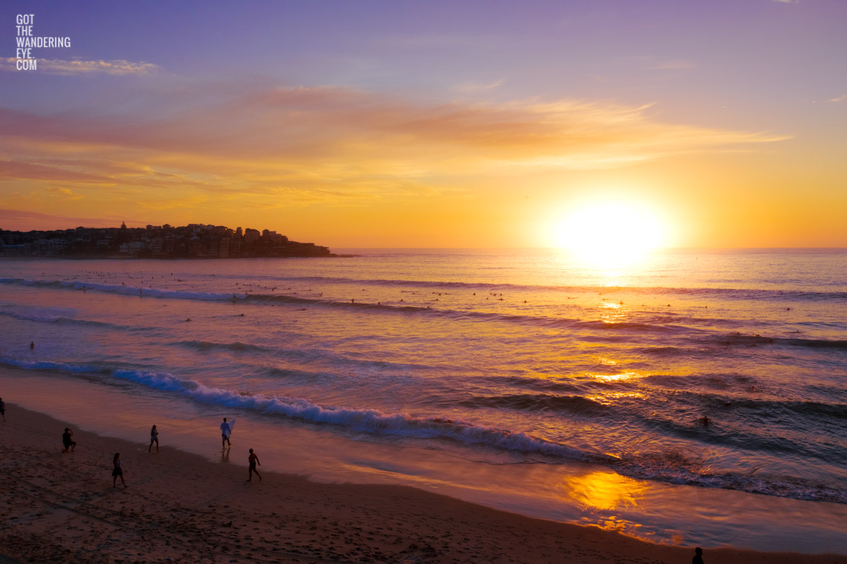 Aerial seascape of a gorgeous sunrise over Bondi Beach.
