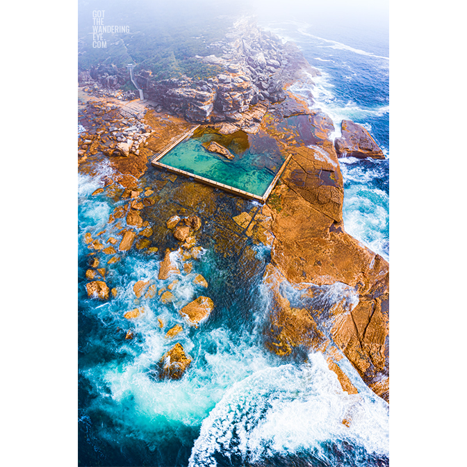 Aerial seascape on a misty morning at North Curl Curl Rockpool