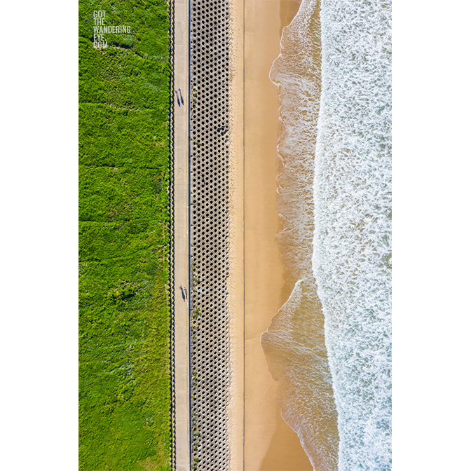 Aerial oceanscape above The Wall, North Cronulla Beach