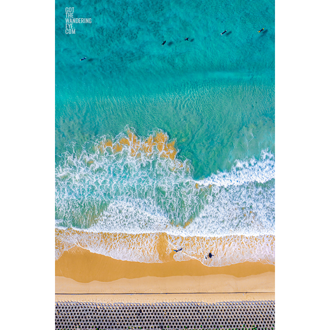 Aerial photography, North Cronulla Beach, waves, surfers
