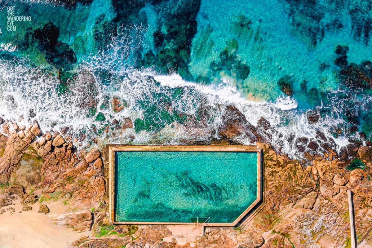 Aerial oceanscape photography above South Cronulla Rockpool, Oceanpool. Beach, waves