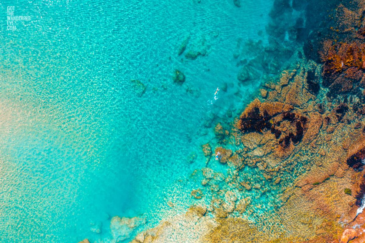 Aerial oceanscape. Beach, sand, ocean swimmers, shallow reef, South Cronulla Beach