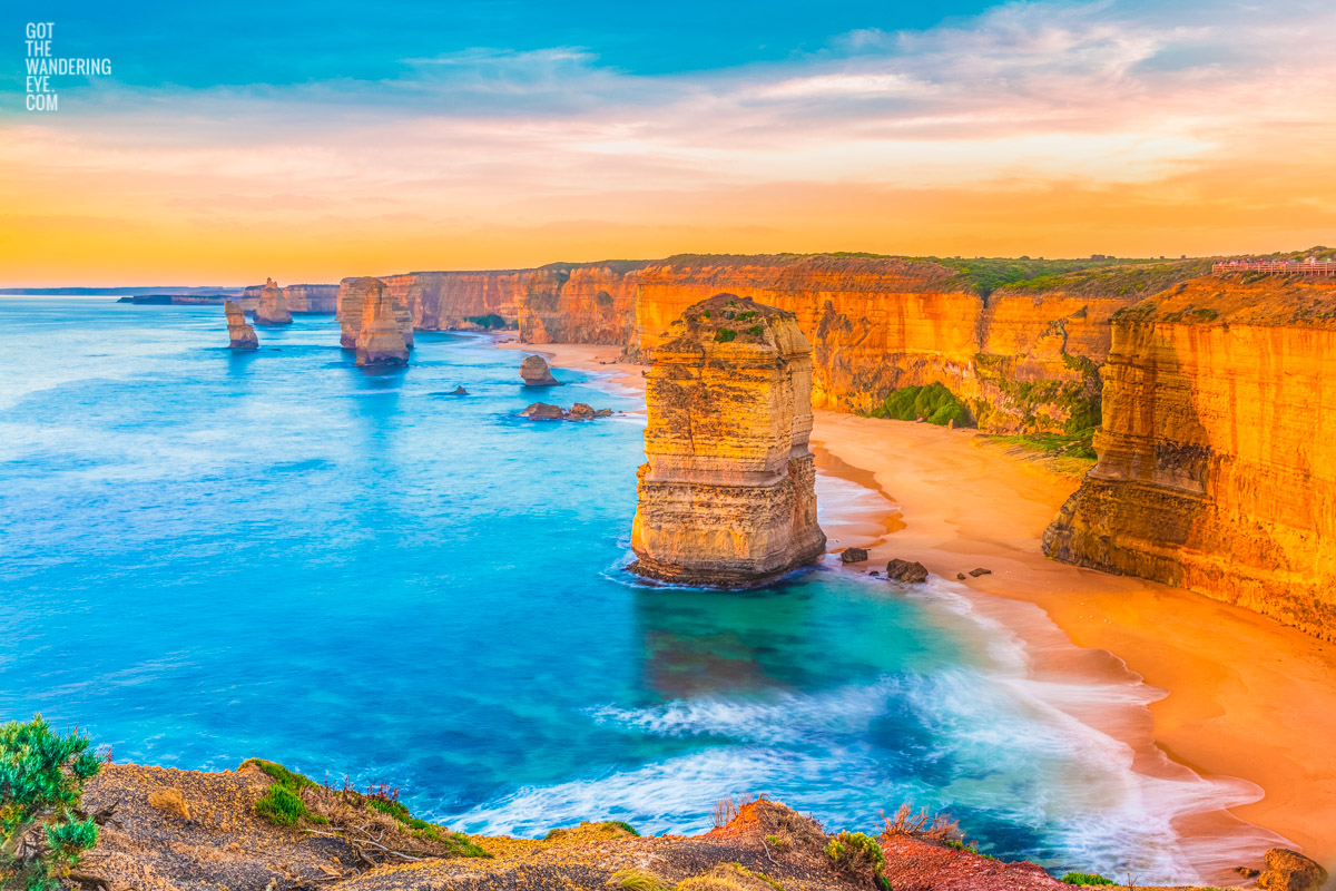 12 Apostles smothered in a gorgeous warm sunny sunset. Ocean, beach, sunset, great ocean road, victoria