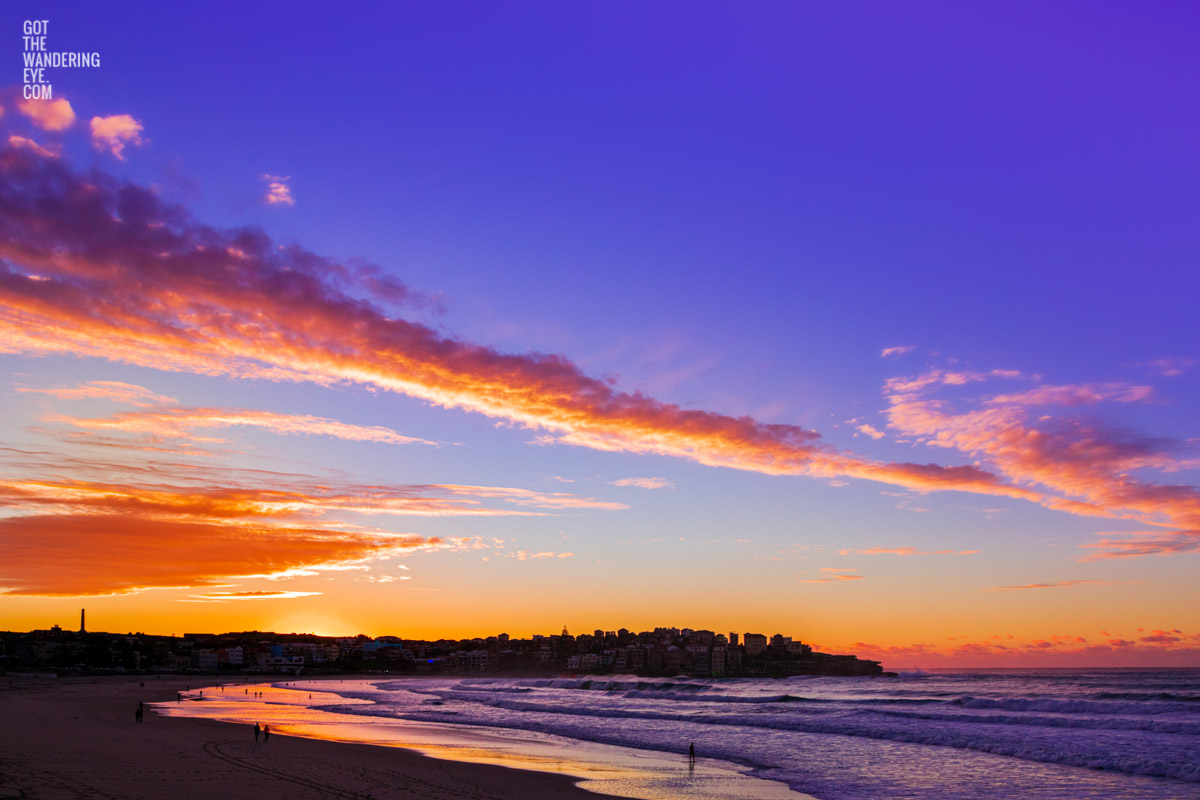 Stunning beautiful, gorgeous sunrise and Bondi Beach. Early morning, best place in Sydney for sunrise. Pink, purple fiery sunrise