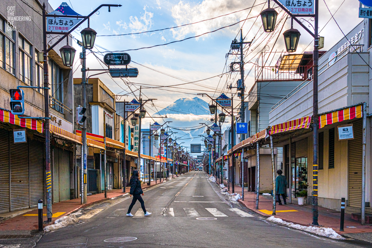 Wandering the streets of Fujiyoshida, with Mount Fuji in the distance. Urban, street, citiscape