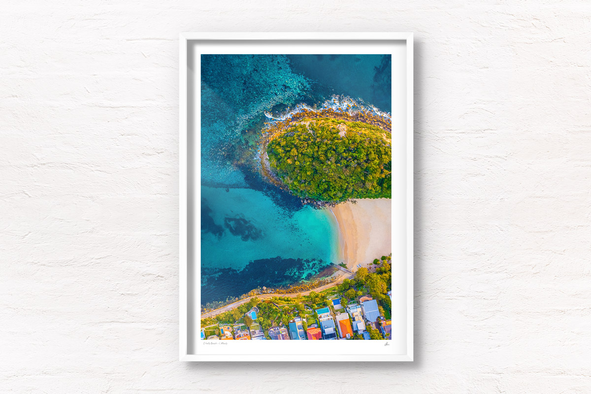 Fine Art Prints of aerial oceanscape above Cabbage tree Bay aquatic reserve, Shelly Beach, Manly. Ocean, beach, Sydney.