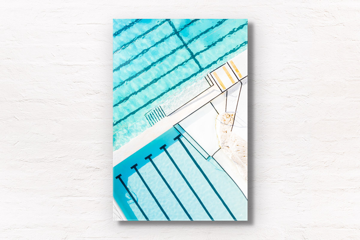 Framed fine art print of a beautiful crystal clear turqoise waters of Bondi Icebergs, Ocean, swimming rockpool Sydney