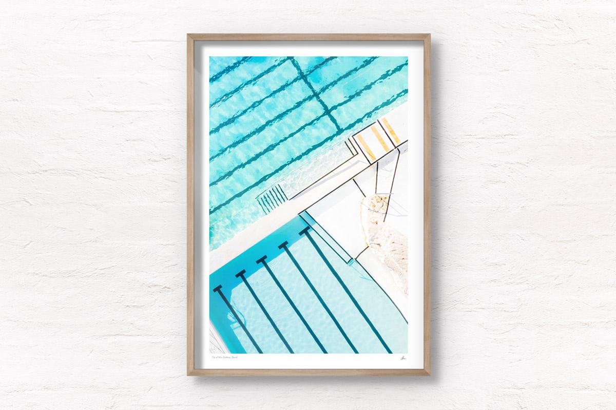Framed fine art print of a beautiful crystal clear turqoise waters of Bondi Icebergs, Ocean, swimming rockpool Sydney