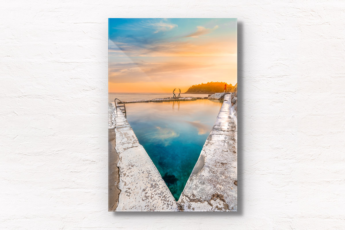 Fine art framed print of a sunrise reflections on Fairy Bower Ocean Rockpool, Manly. Beach, morning, northern beaches. Oceandies – Sea Nymphs sculpture by Helen Leete