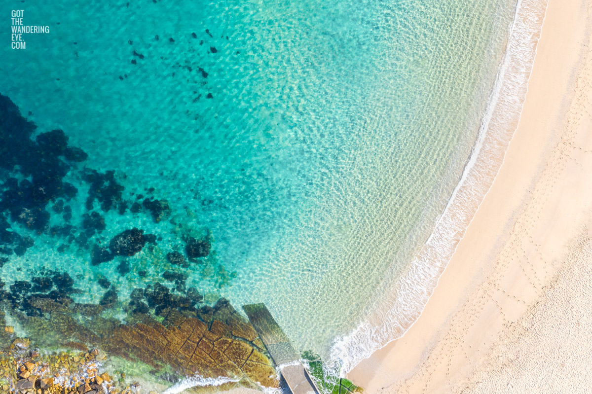 Aerial seascape above a crystal clear Summers day morning at Shelly Beach, Manly. Summer, Beach, ocean, beachvibes, Manly
