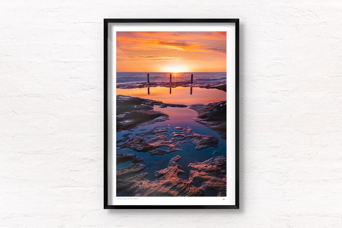 Buy fine art framed print of spectacular golden sunrise at Ivor Rowe Rock Pool, Coogee, Sydney by Allan Chan