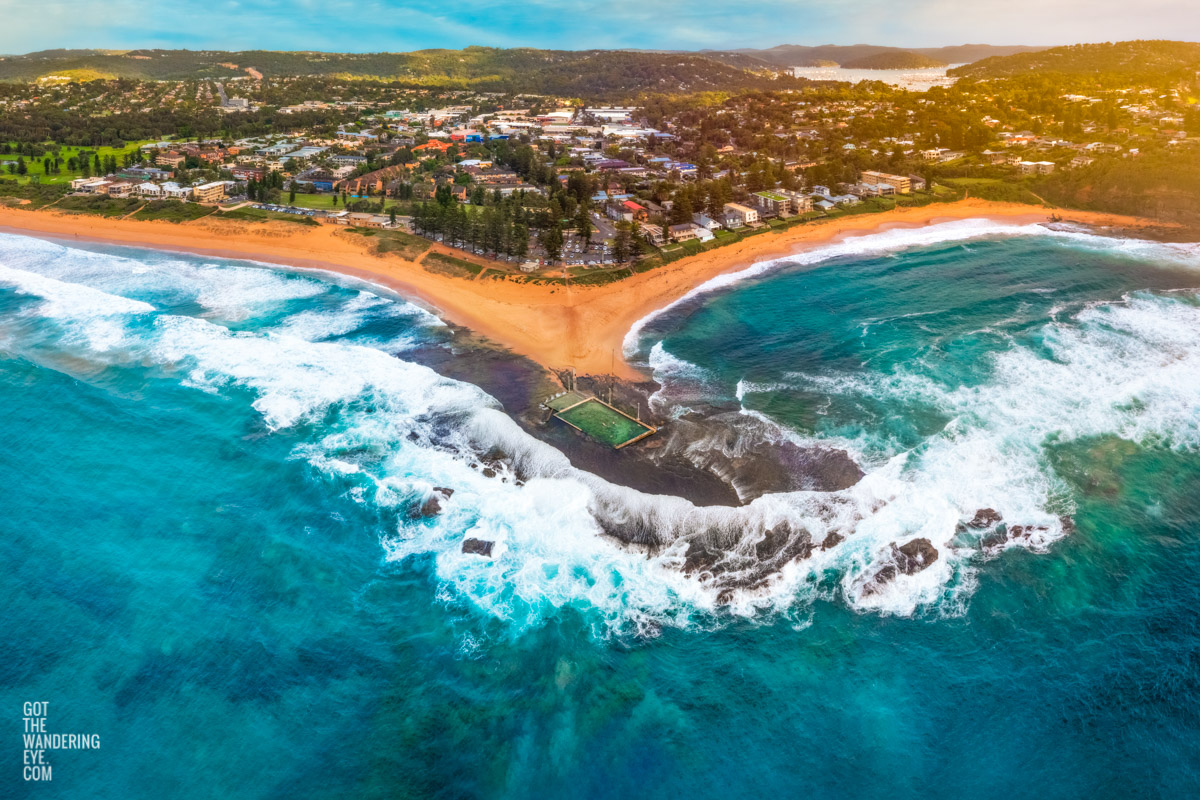 Aerial seascape of the northern beaches best ocean rockpool. Mona Vale ocean rockpool, by Allan Chan